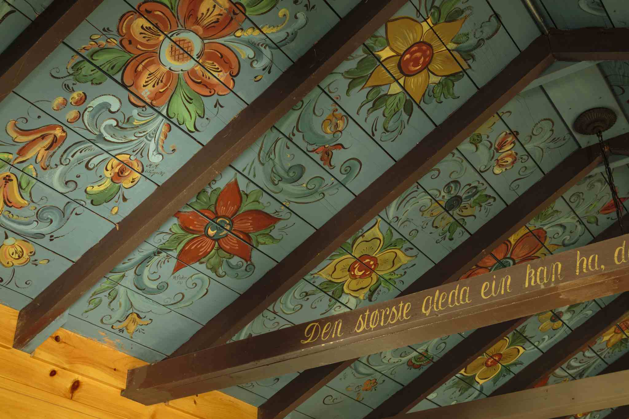 painted ceiling in a rustic cottage