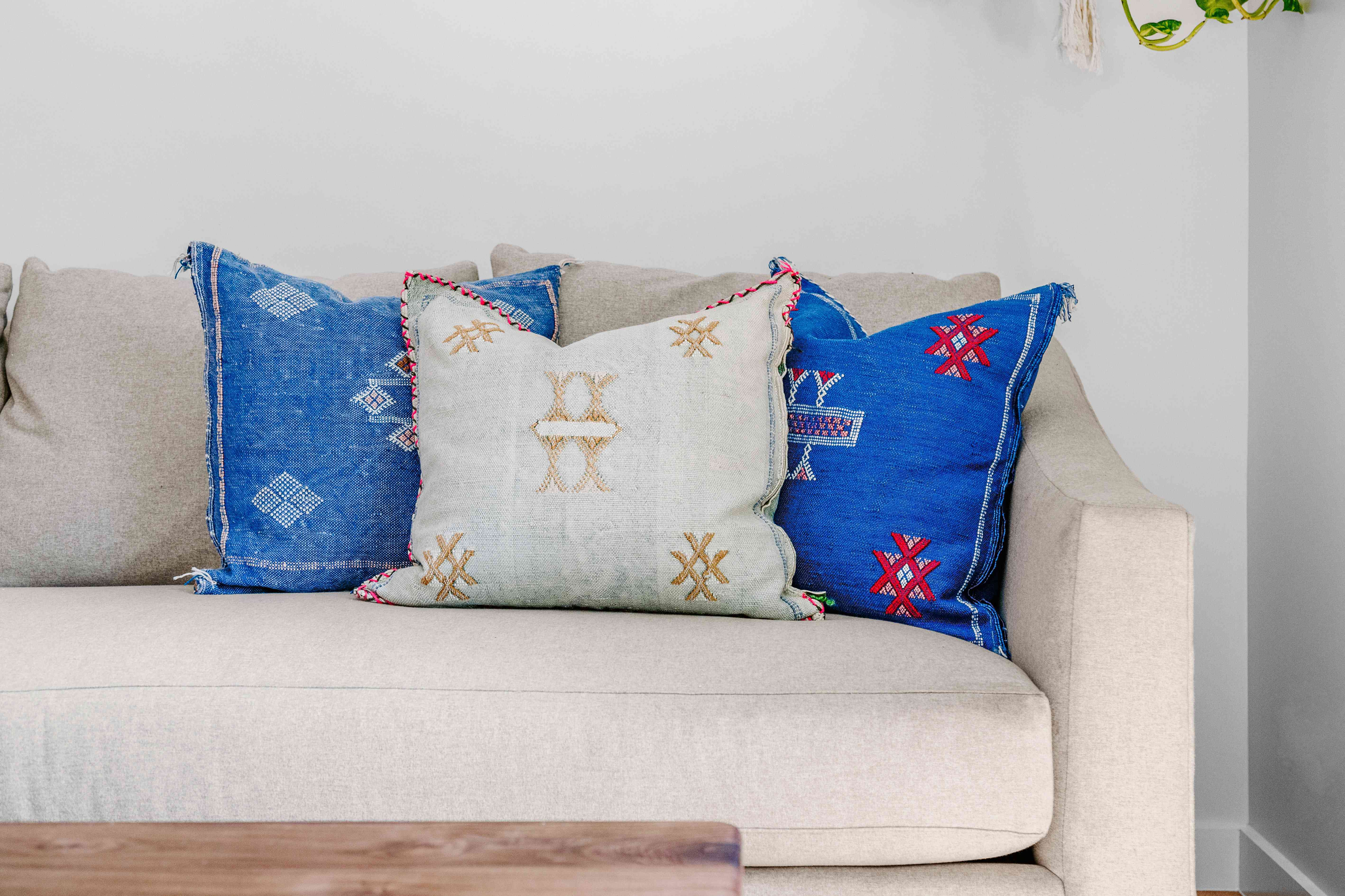 decorative throw pillows on a sofa