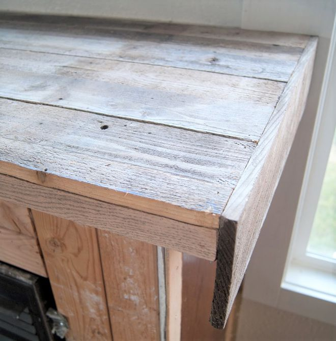 Encimera de chimenea de madera recuperada
