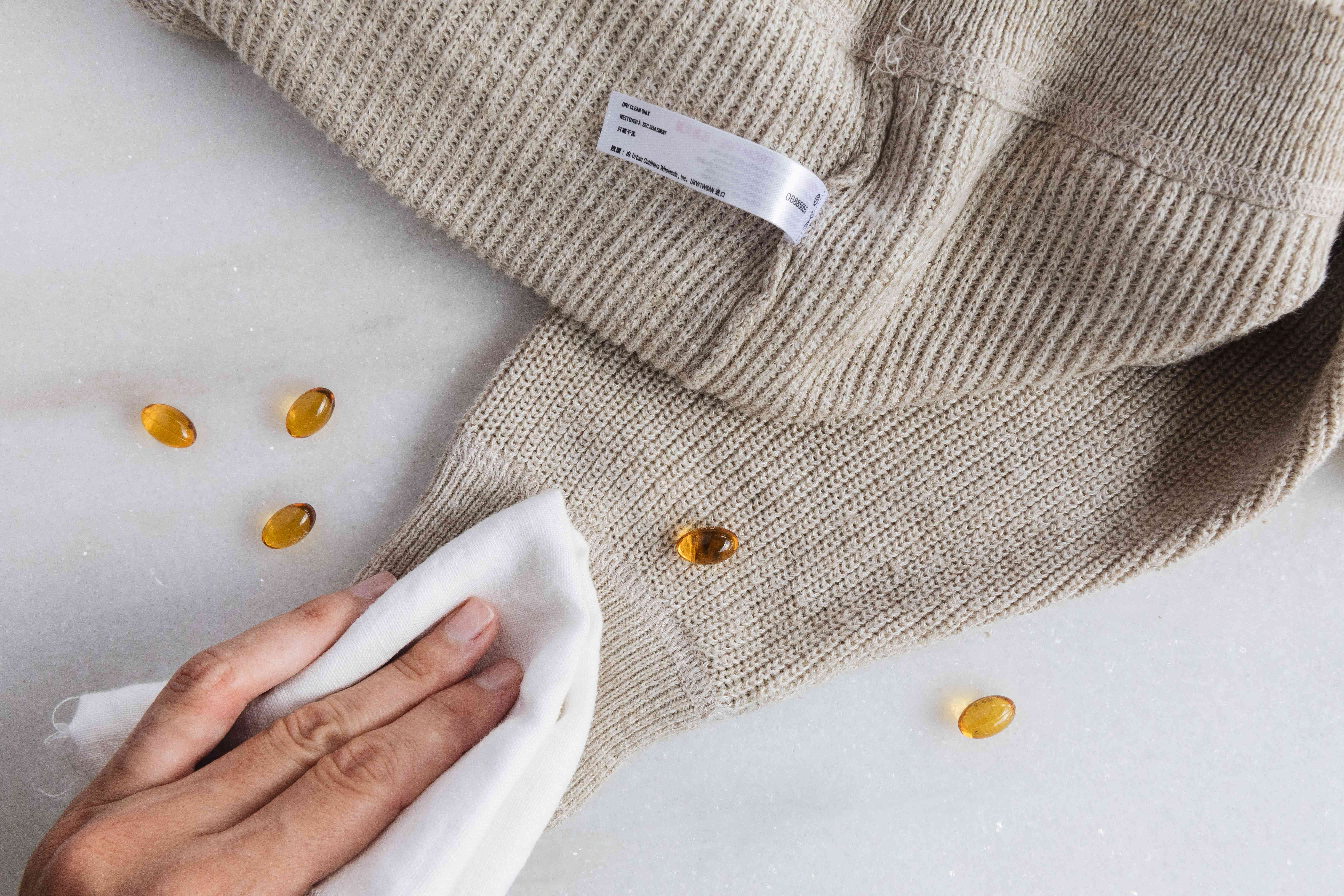 blotting a stain on a dry-clean only garment