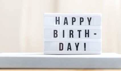 "A white letter board with black letters spelling out ""HAPPY BIRTHDAY!"""