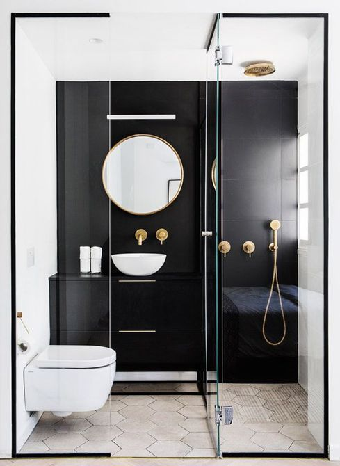 black and white painted bathroom