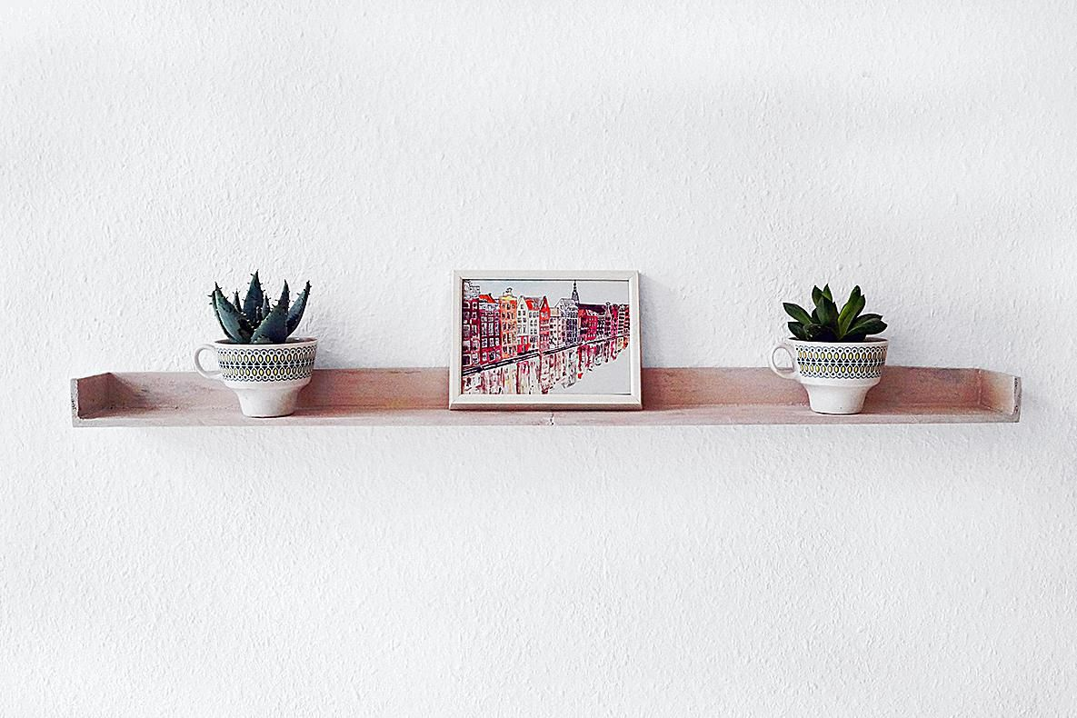 narrow wooden DIY shelf with cacti on them