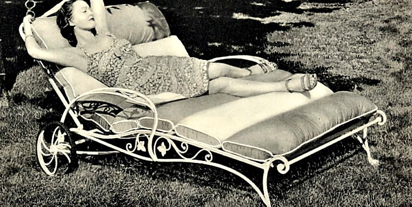 Woman lounging in outdoor chair