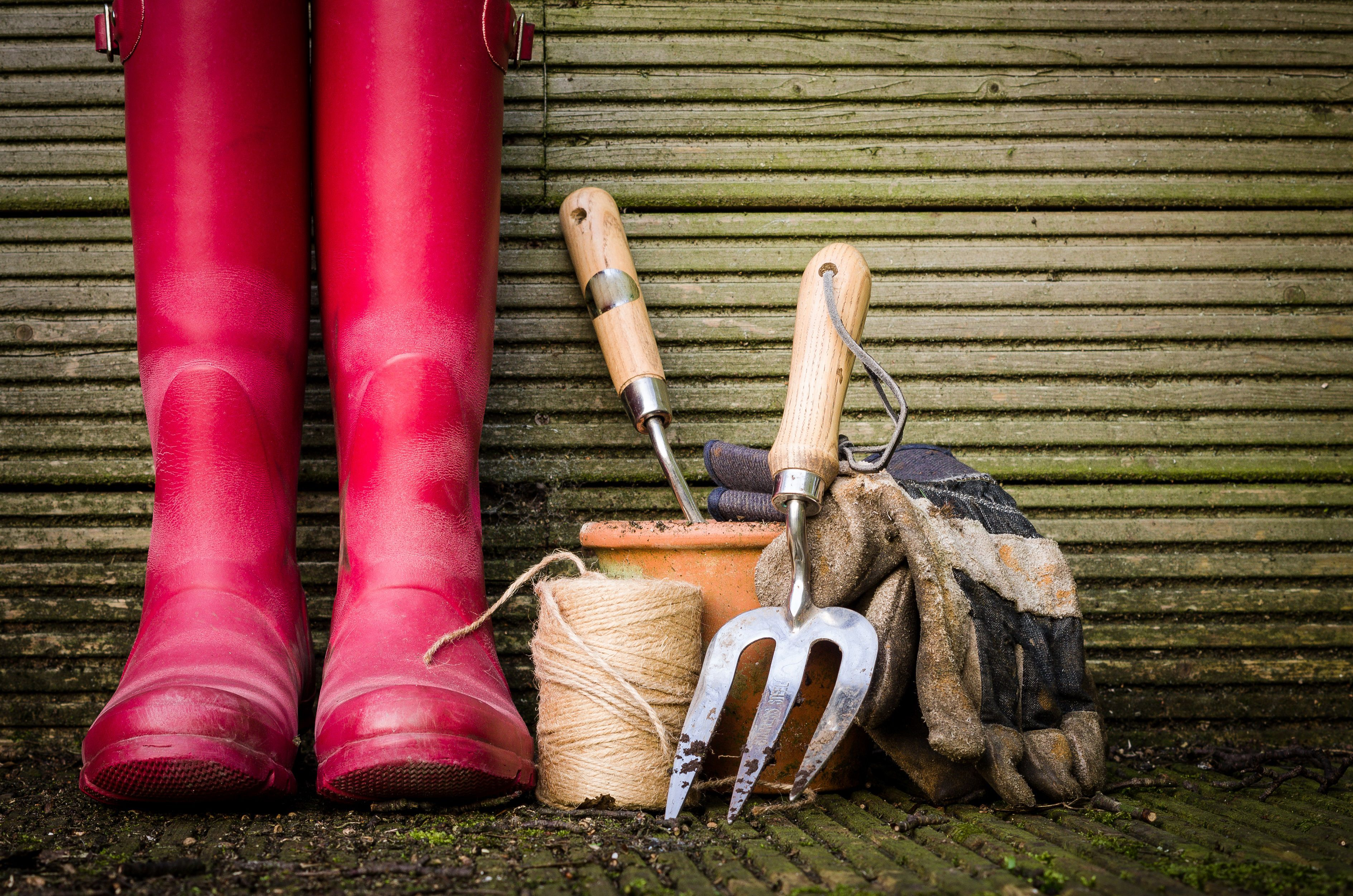 Garden boots and tools