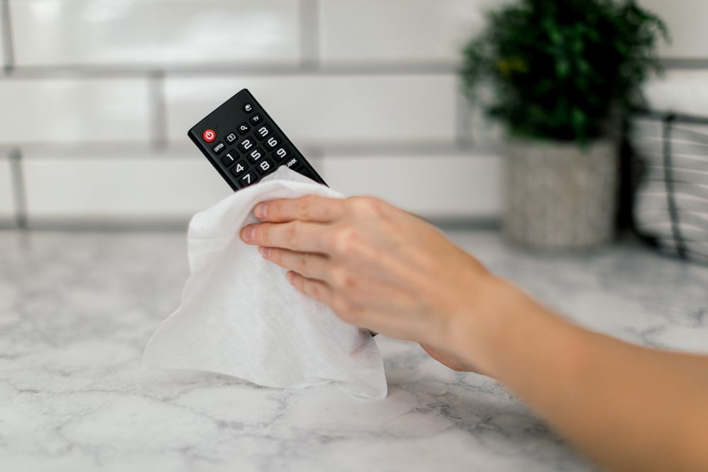 sanitizing the remote