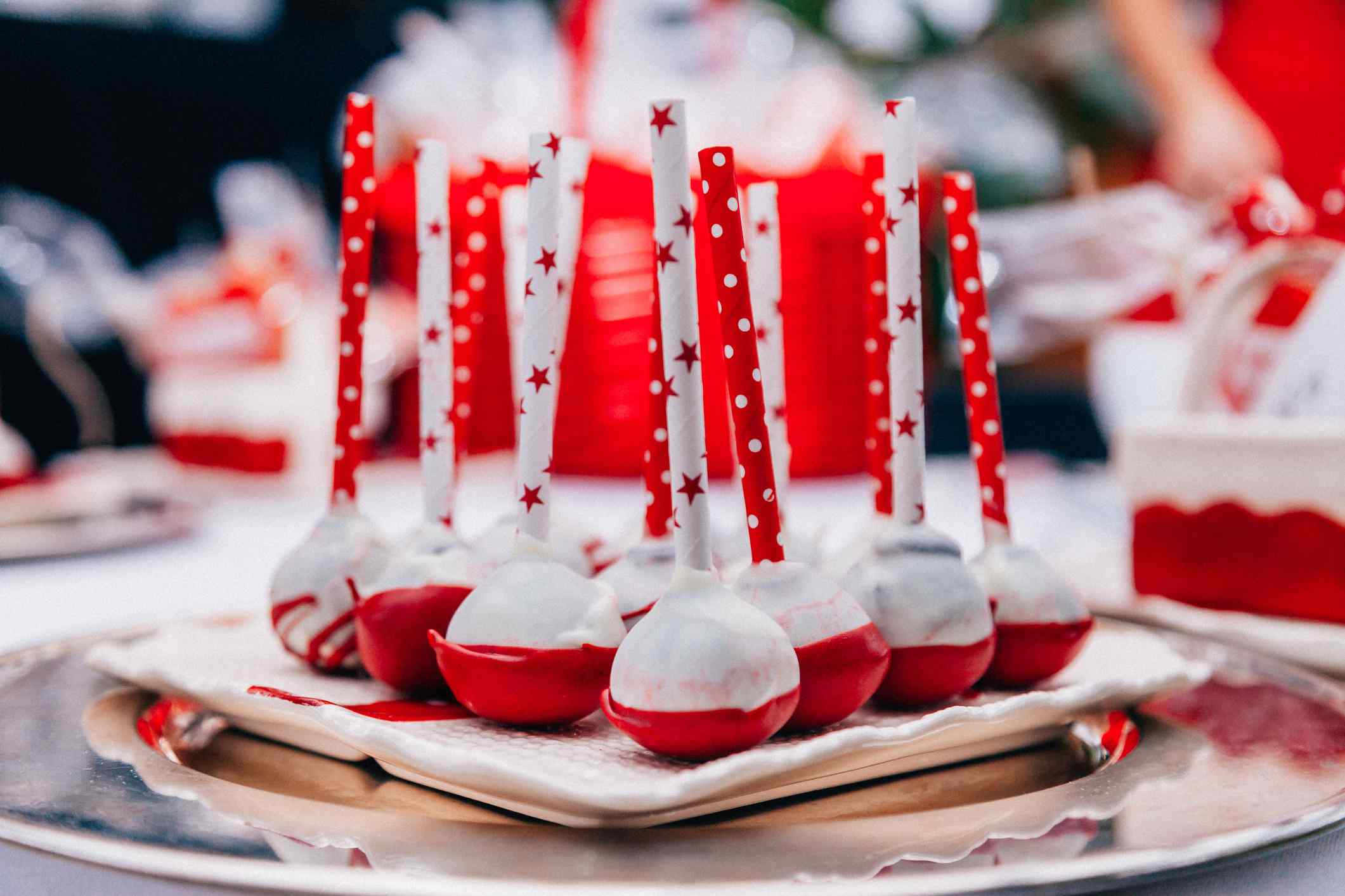 Red and White Cake Pops