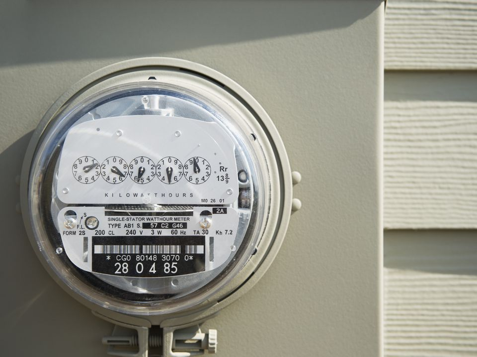 Electricity meter on the outside of a house