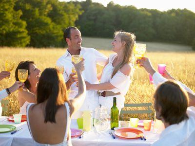Newly engaged couple celebrated with toasts
