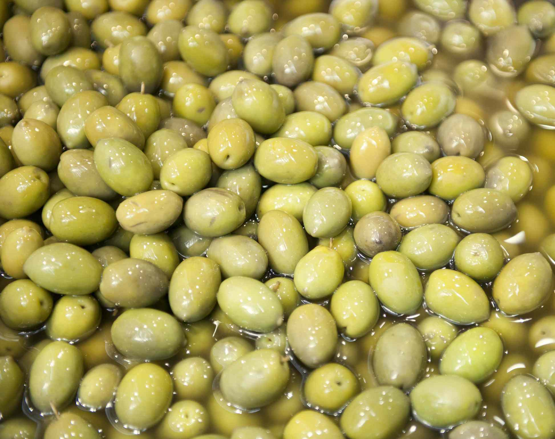 Picholine olives soaking in brine