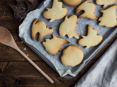 Halloween themed cookies on sheet