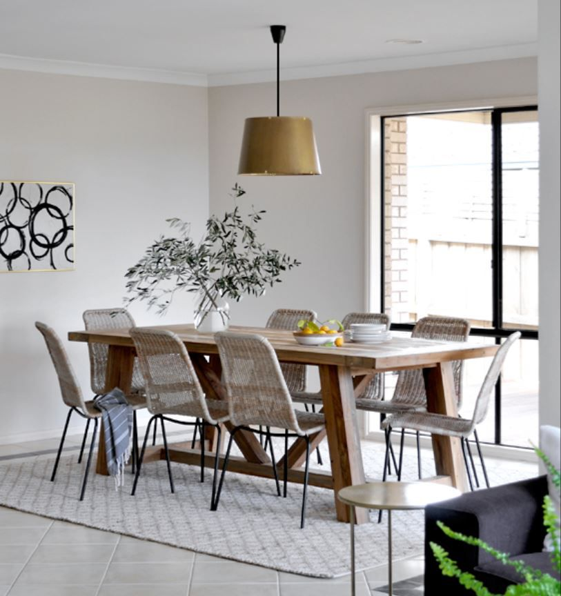 Small open concept dining room with modern farmhouse feel.