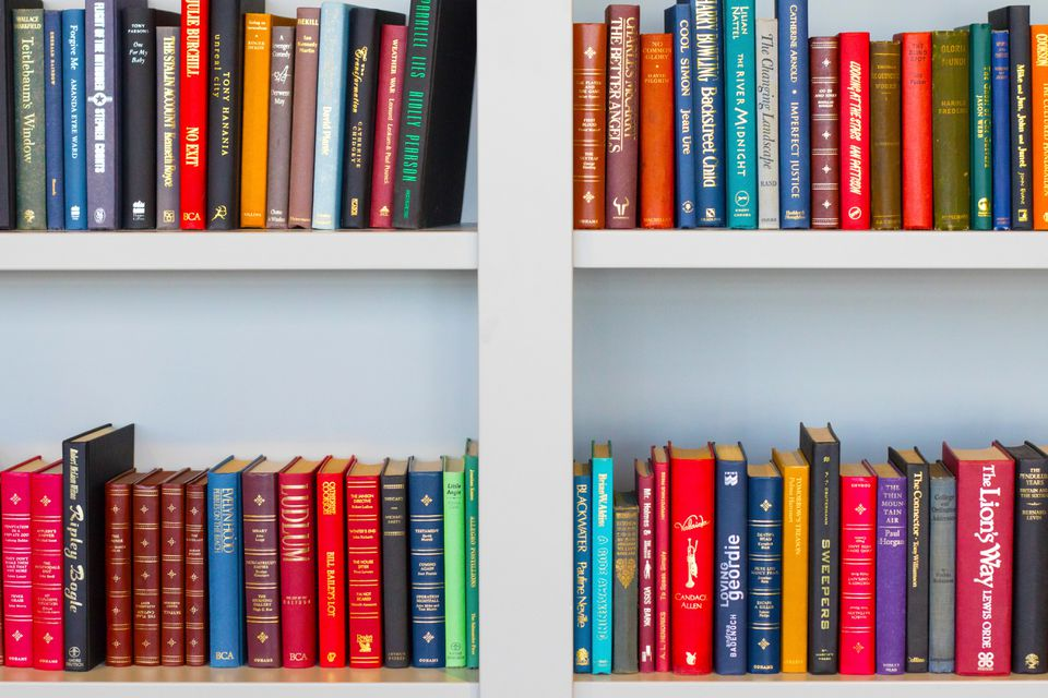 Bookshelf of colorful books