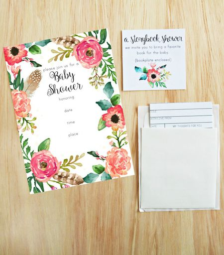 19 sets of free baby shower invitations you can print a floral baby shower invitation on a table filmwisefo