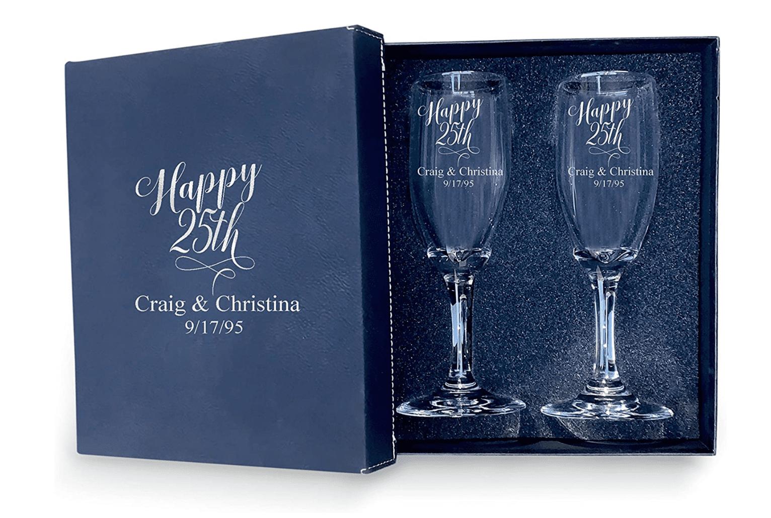 25th Anniversary Couple Champagne Glasses with Black Box