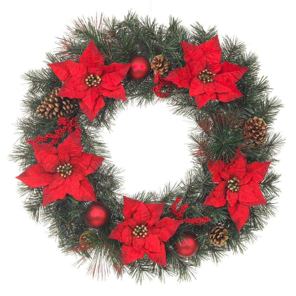 Best Poinsettia: Artificial Christmas Mixed Pine Wreath with Red Poinsettias and Pinecones