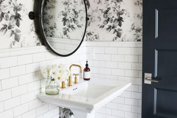 bathroom with black tile
