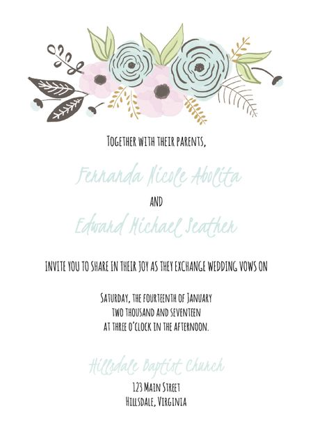 a floral wedding invite template