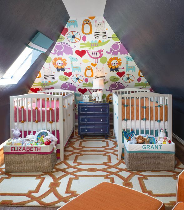Colorful twin nursery with dark walls and bright accents