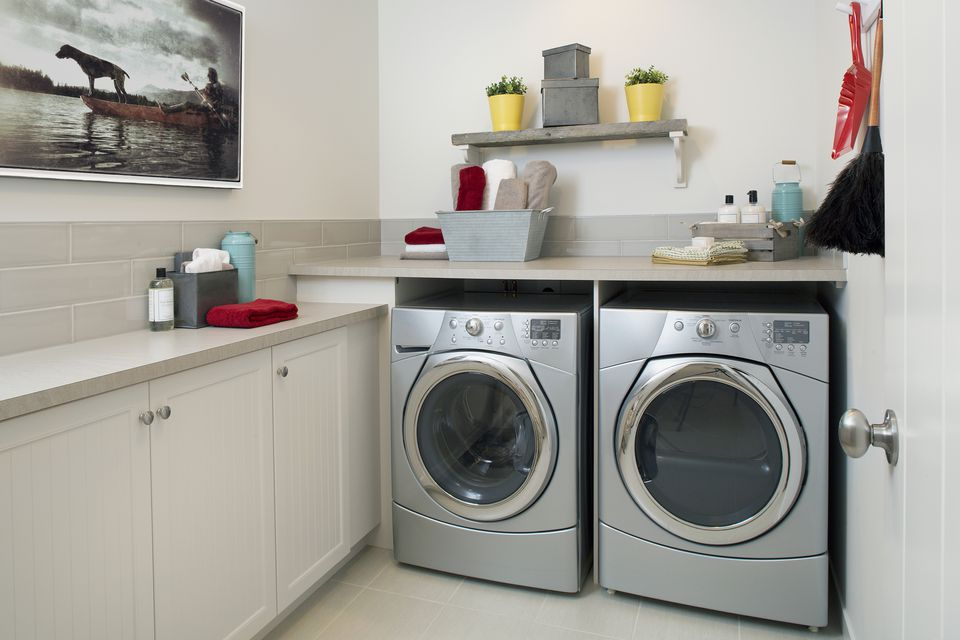Energy efficient washing machine and dryer laundry room