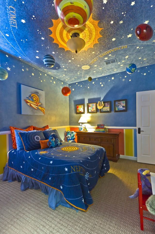 Space-themed kid's room with elaborate ceiling mural
