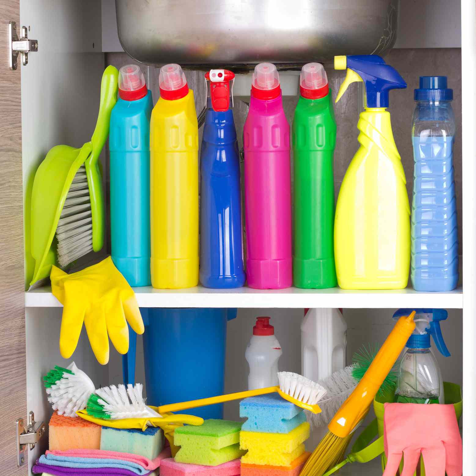 Cleaning products under sink