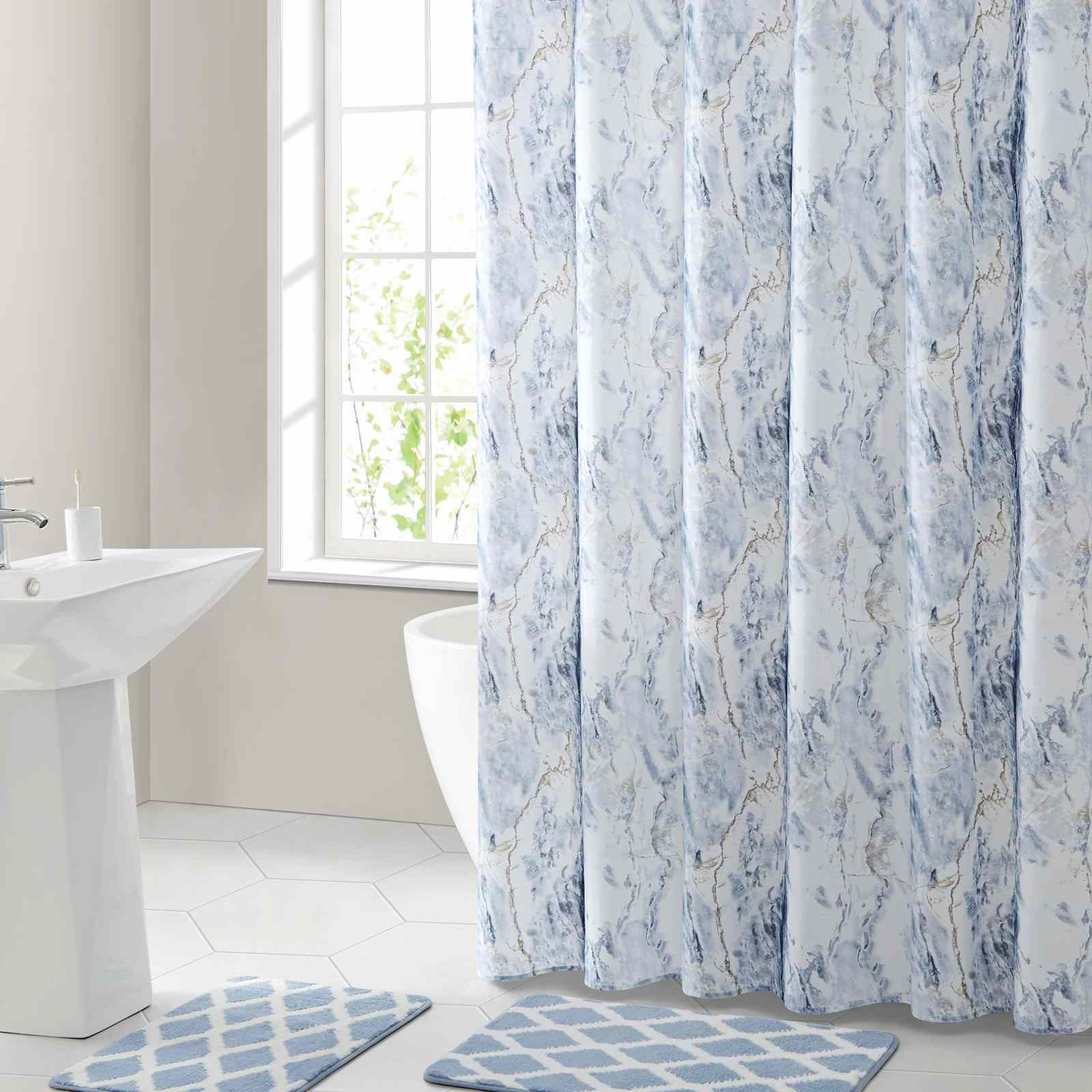 Mainstays Marble Polyester Shower Curtain