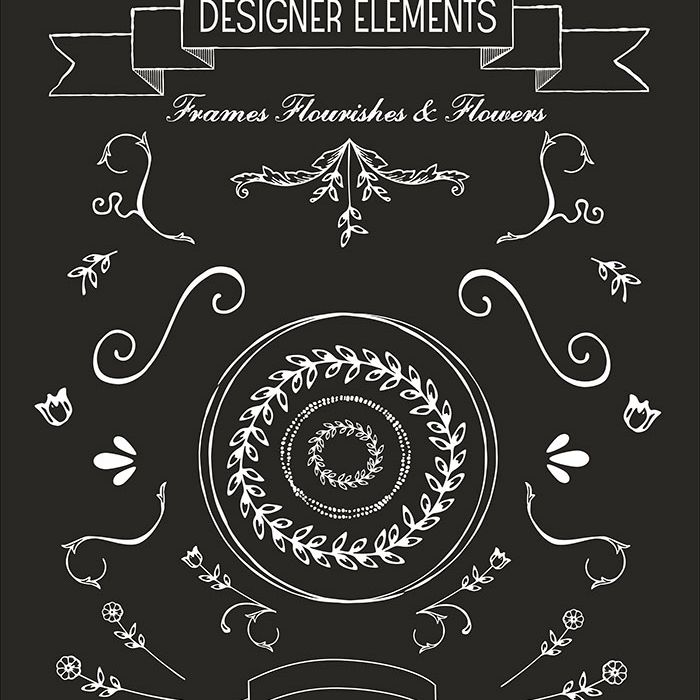 Hand drawn wedding clip art of frames and flourishes
