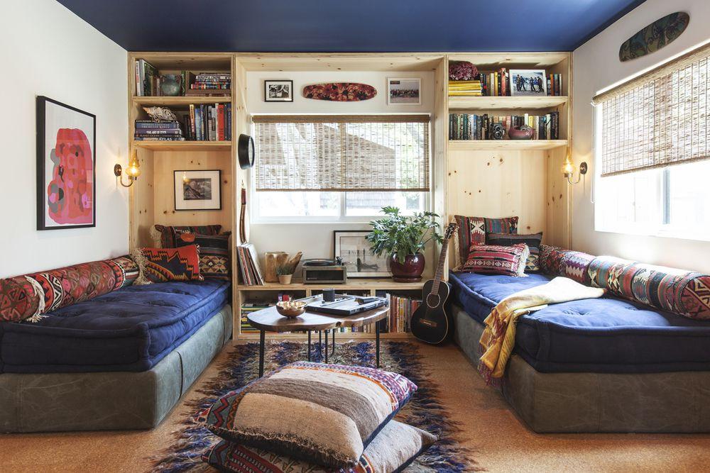 Bohemian living room with futon sofas
