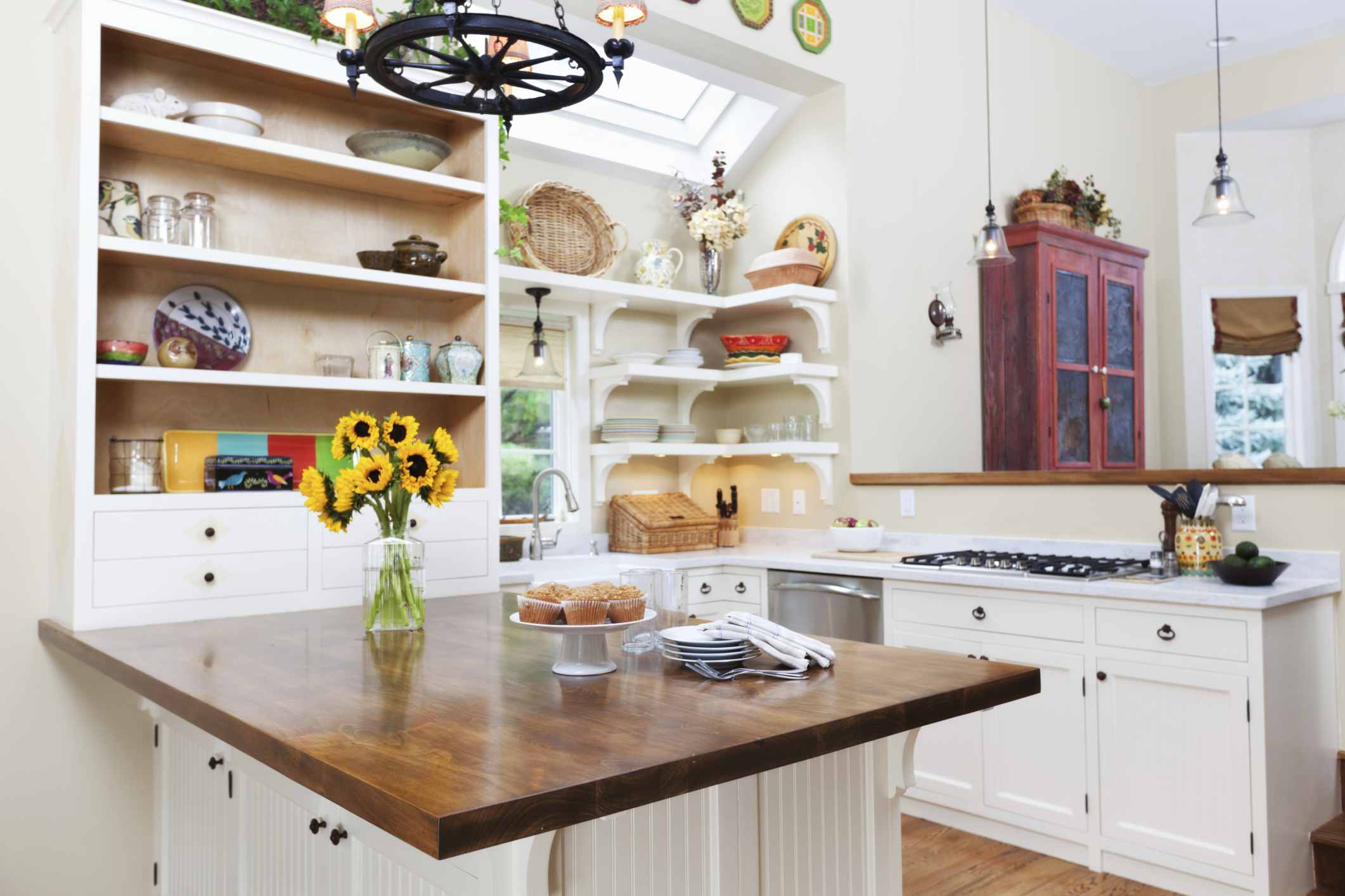 Large Contemporary Kitchen with Open Shelves 186807237