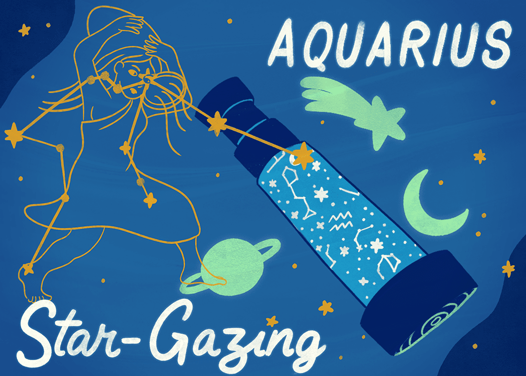 party theme for your zodiac aquarius illustration