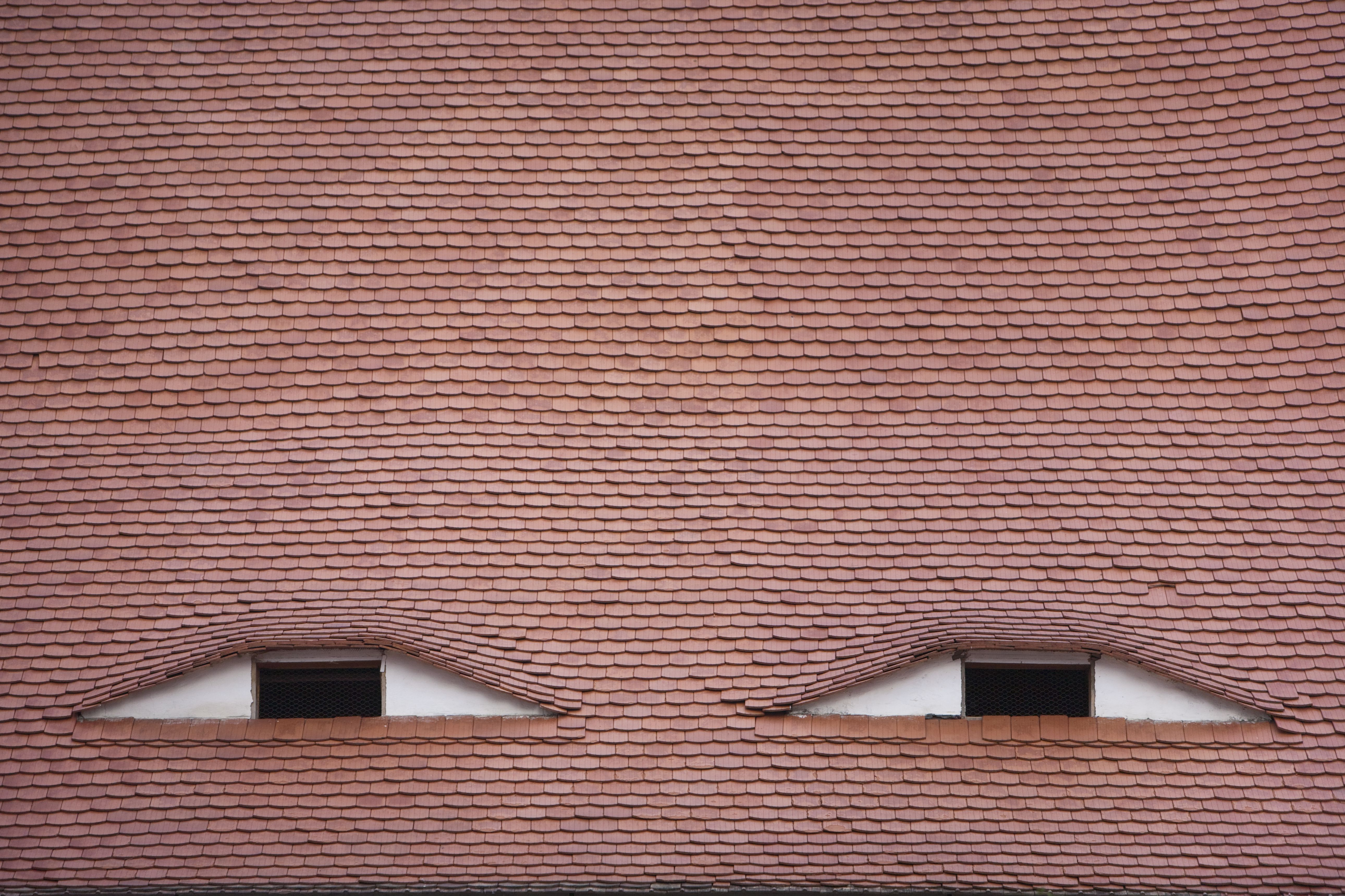 Two eyebrow window dormers in a red tile roof