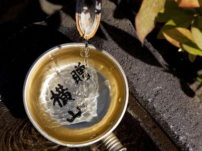 Fountain with Chinese characters