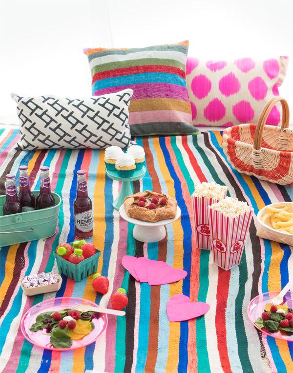 Colorful picnic setting