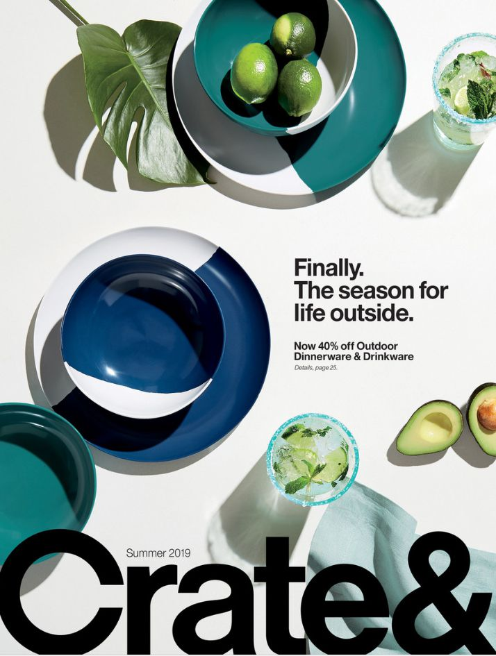 The cover of the Summer 2019 Crate and Barrel catalog