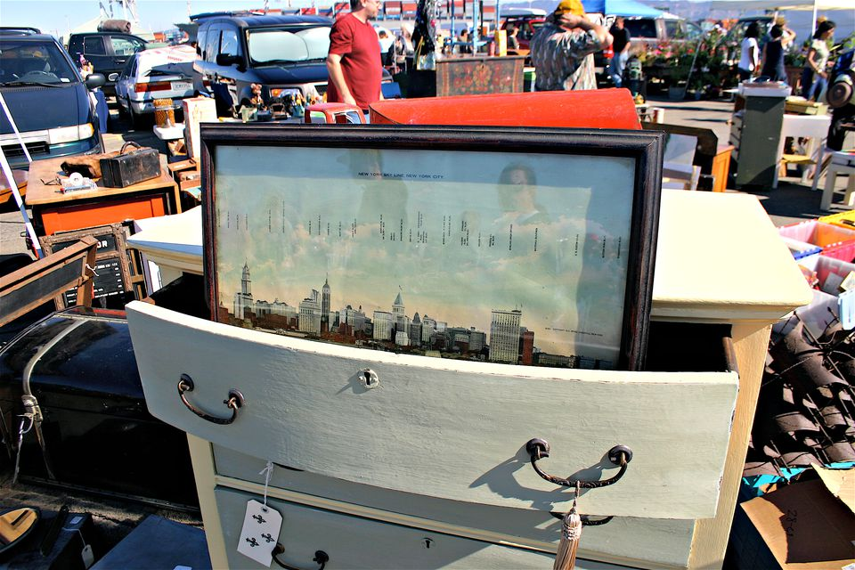 Old dresser for sale at Alameda Point Antiques Faire