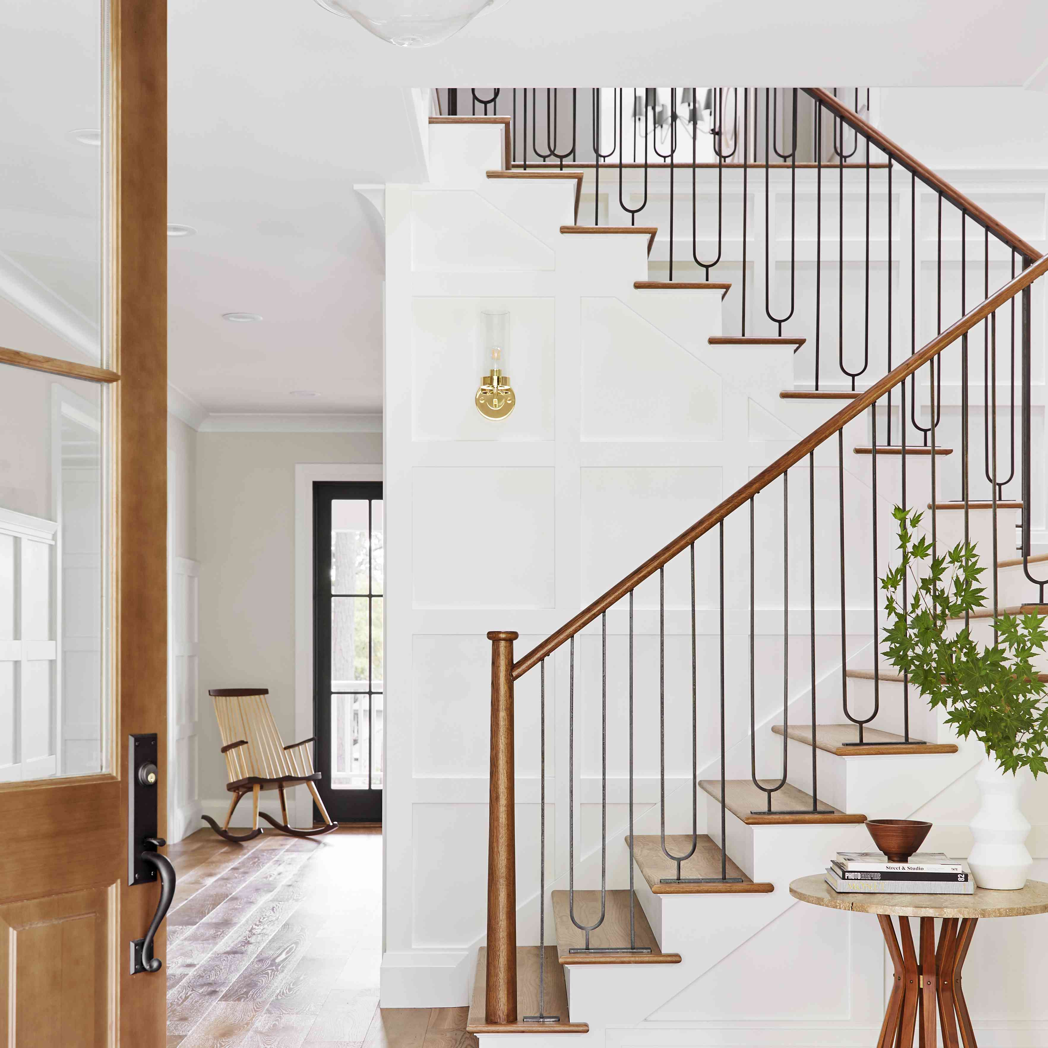 white staircase with modern railing