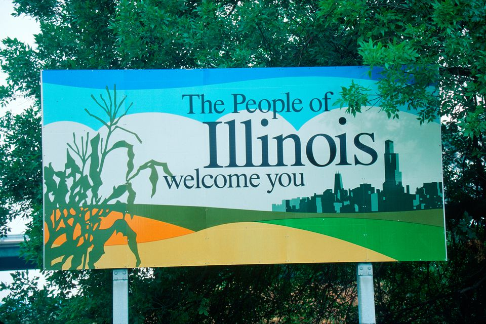 Welcome to Illinois road sign