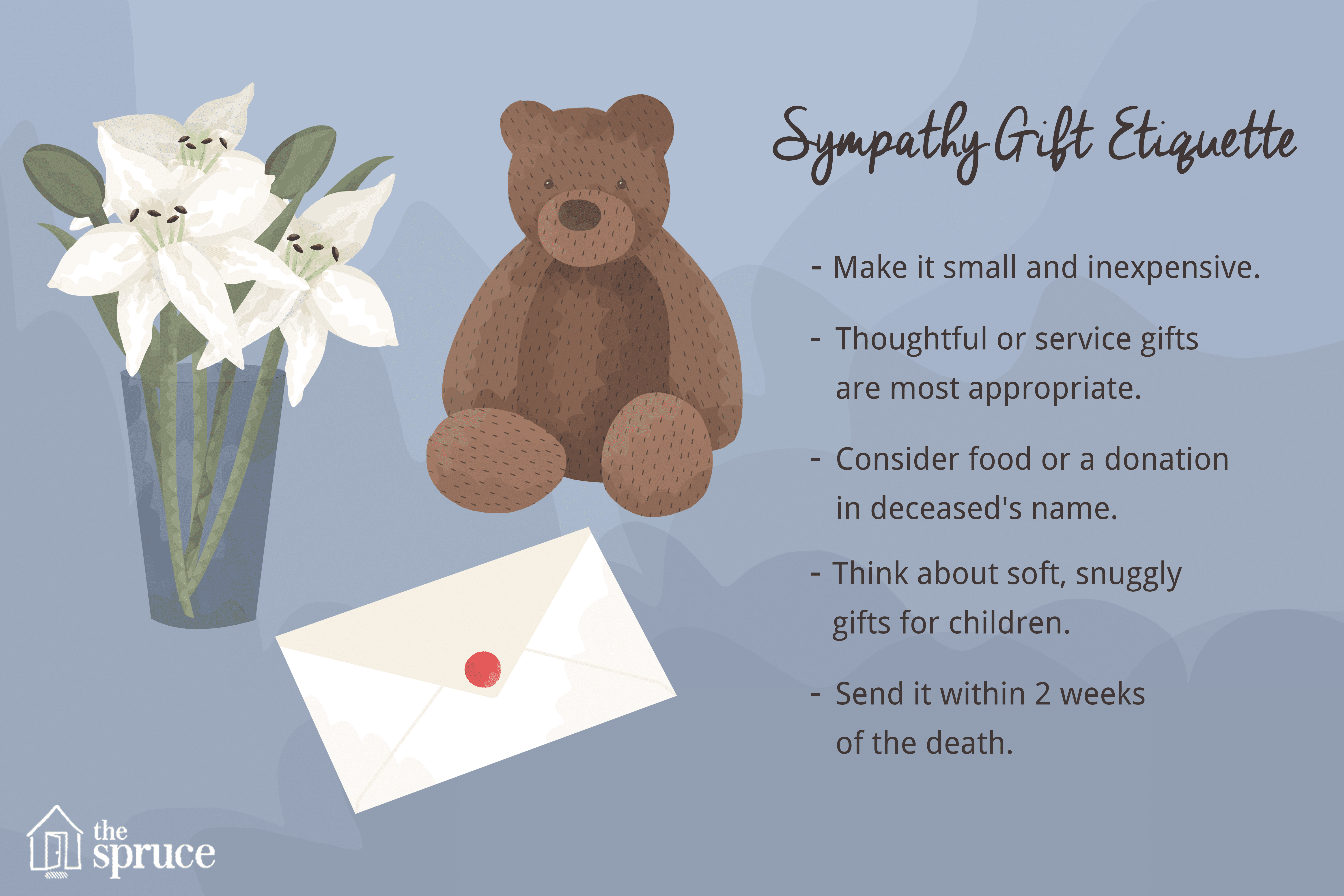 Illustration of lilies and teddy bear as sympathy gifts