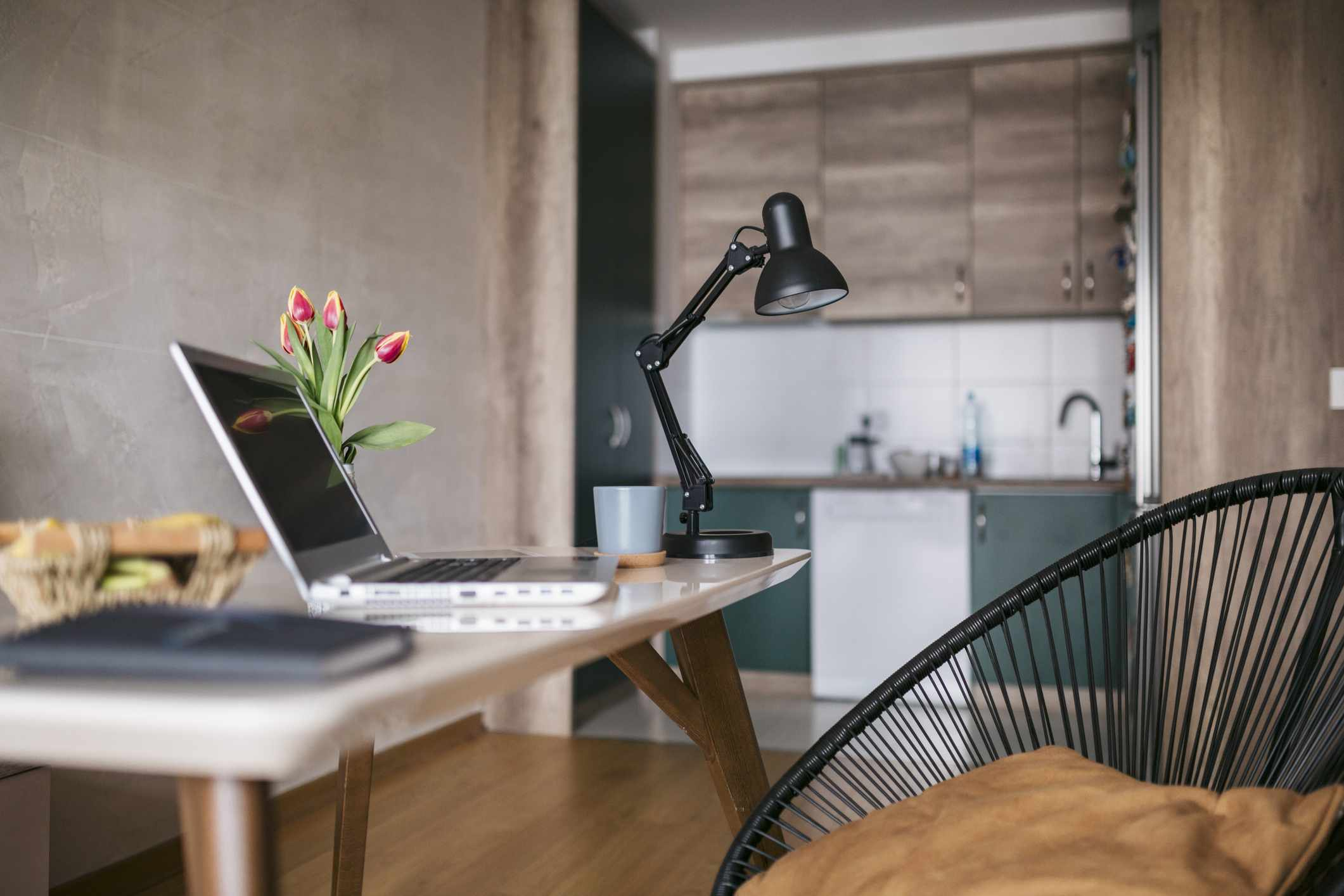 home workspace set up with brown and black colors