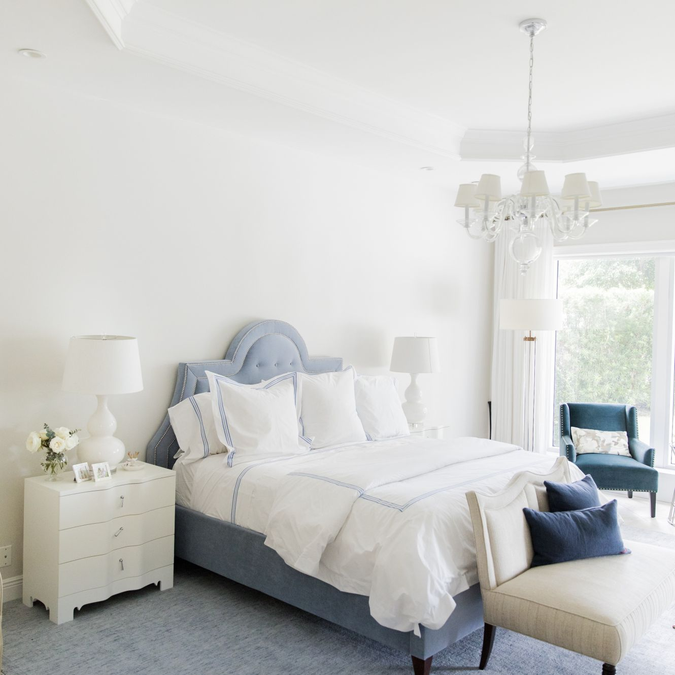 dusty blue and white bedroom