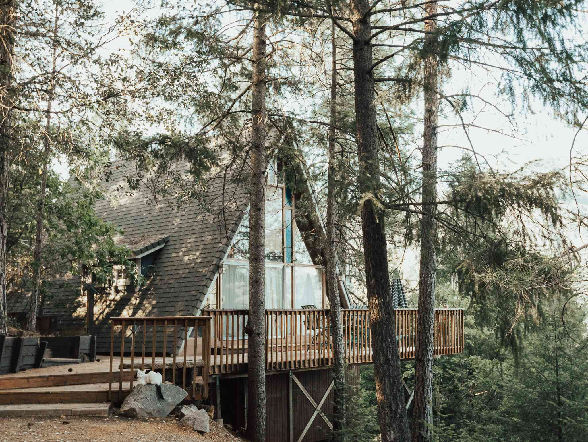 Casa en el árbol A-frame con terraza