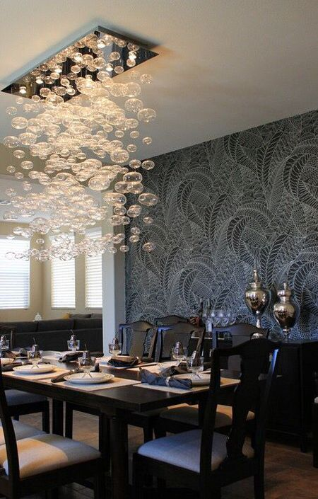 Modern Dining Room With Wallpapered Feature Wall