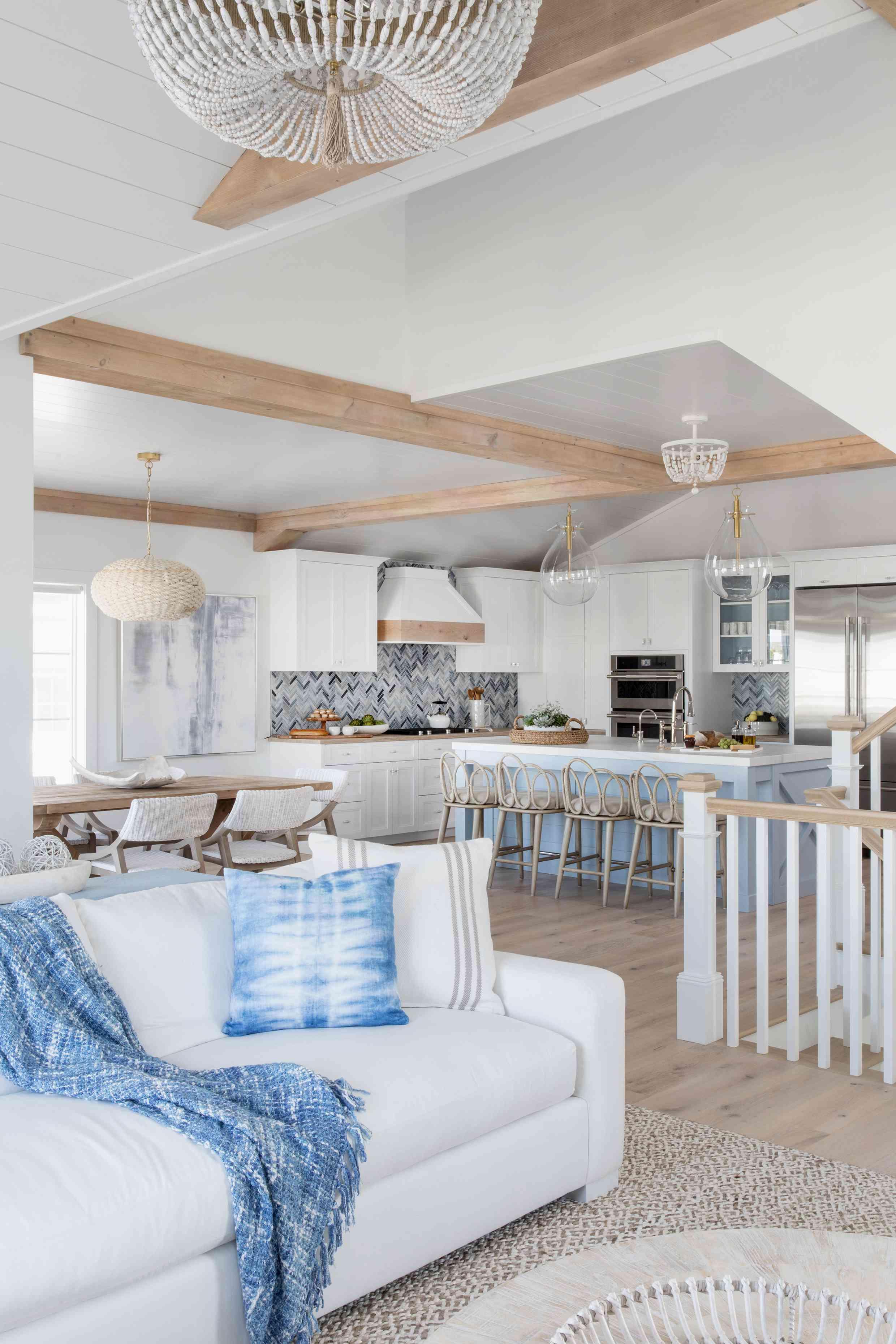 the open concept main living floor of the Karen B. Wolfe's Long Beach Island home