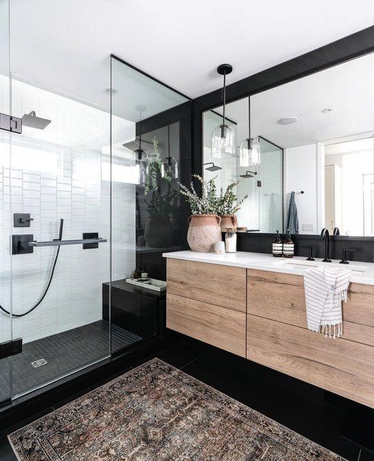 Azulejo de ducha blanco y negro