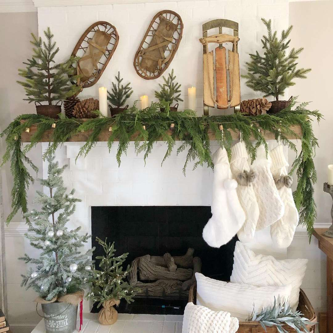 Fireplace with garland