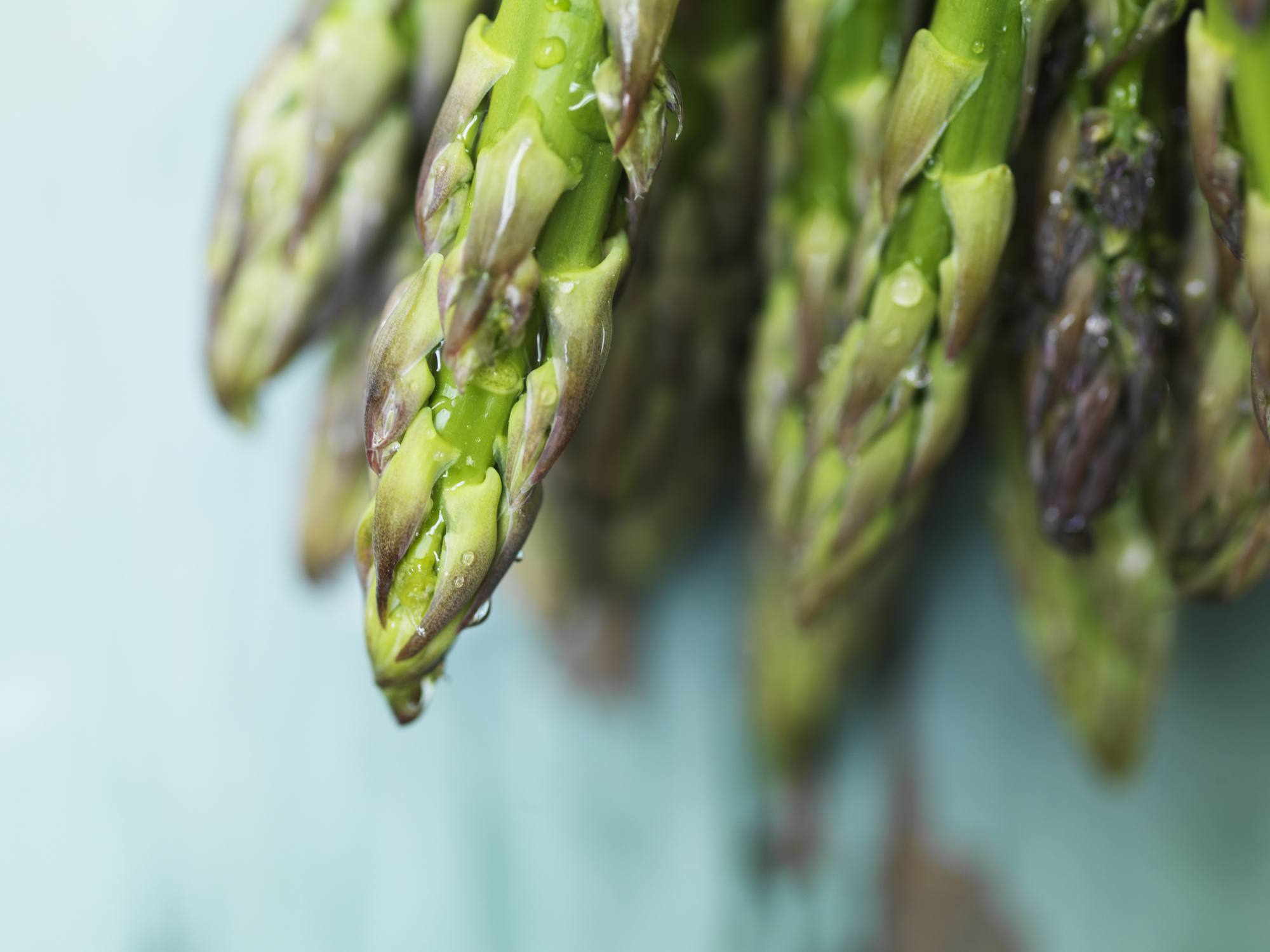 Fresh asparagus stacked in a pile