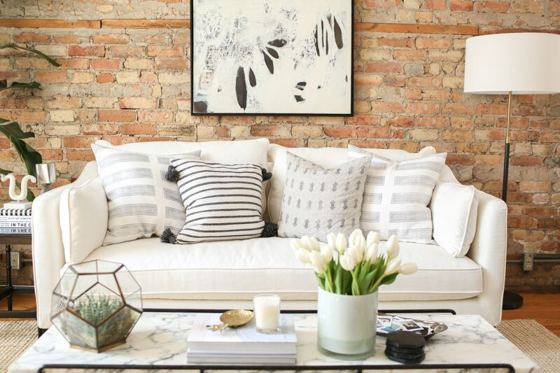 Throw pillows on a white couch