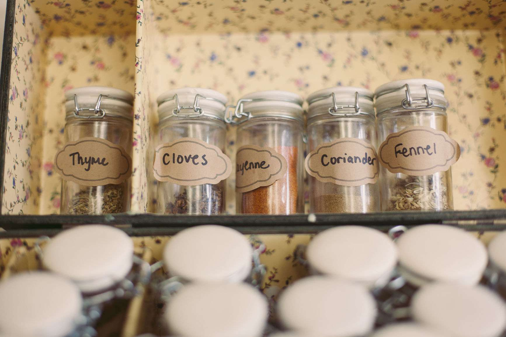 a selection of herb and spice jars