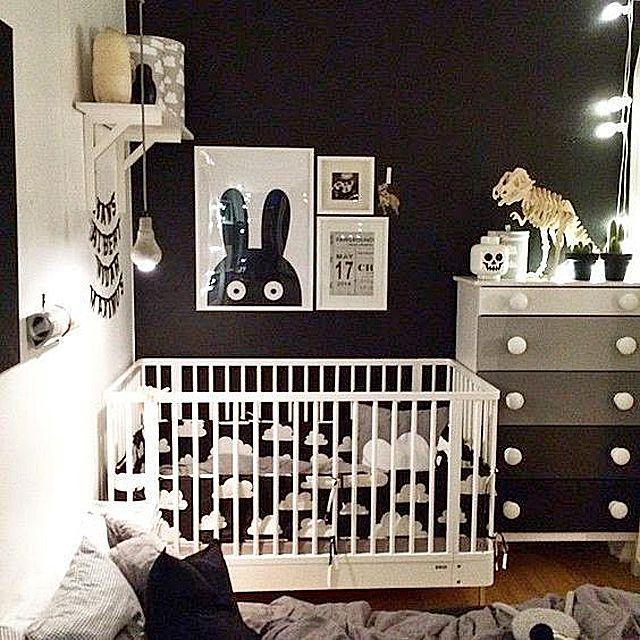 Espacio de vivero gráfico en blanco y negro